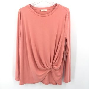 NWT Hummingbird Knotted Front Ribbed Tunic Top